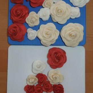 Fondantrosen rot weiß elfenbein