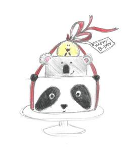 PandaKoalaHuhn Torte Skizze
