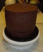 Brownie Torte mit Nutella Mascarpone Fuellung ganachiert
