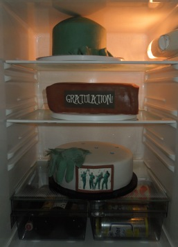 Chirurgen Torte drei Etagen ungestapelt im Kühlschrank