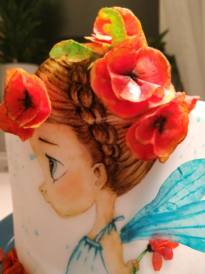 Mohnblütenmädchen Close up (Kopf, Haare & Blüten)